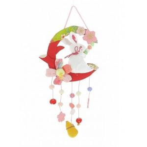Mobile en tissu chirimen - Lapin et Sakura - Le Printemps