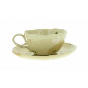 Tasse à café et soucoupe assortie - Lapin dans la campagne