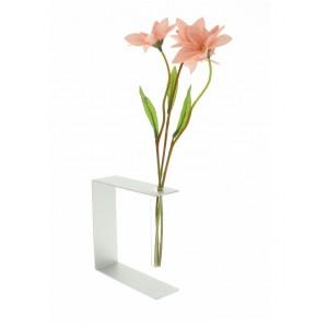 Vase soliflore, tube en verre, cadre en alu.