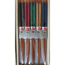 Set de 5  paires de baguettes assorties, 5 couleurs