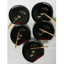 Assiettes à dessert laquées et fourchettes en bambou (set de 5)