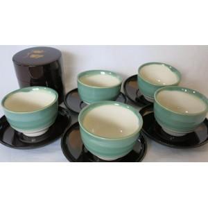 Service à thé - Tasses, soucoupes, plateau et boite à thé