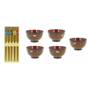 Set de 5 paires de baguettes et 5 bols