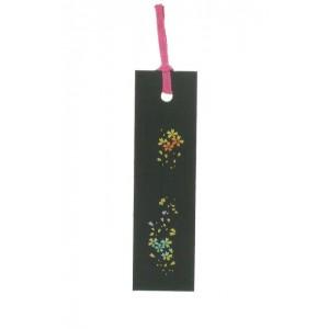 Marque-page décoré, en bois noir laqué, Sakura