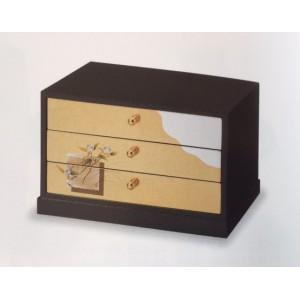 Boite-coffret en bois laqué (Hako), peinture dorée