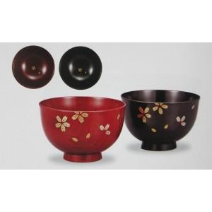 Paire de bols en bois laqué, motif Sakura