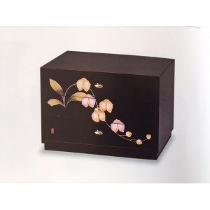 """Mini coffret en bois laqué, modèle """"Orchidées"""", 3 tiroirs"""