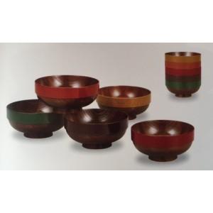 Set de 5 bols en bois laqués