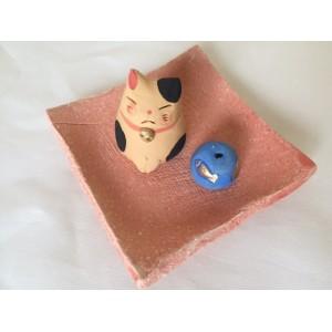 Porte-encens en céramique - Chat et Poisson