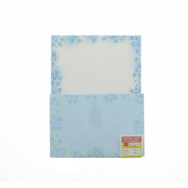 set lettres et enveloppes fleurs bleues. Black Bedroom Furniture Sets. Home Design Ideas