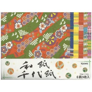 Origami 15 x 15 cm, 24 feuilles, 6 motifs