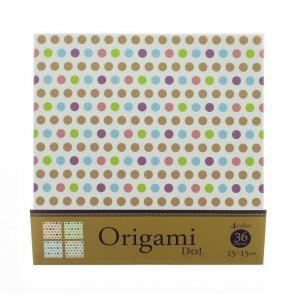 Origami, motifs pois pastels, 15 cm