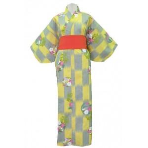 Kimono jaune bouton d'or et gris