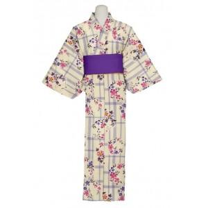 Kimono ivoire, gris et rose