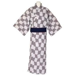 Kimono blanc et marron clair, pour hommes