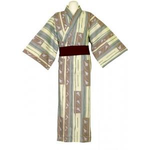 Kimono jaune pâle, marron et gris, pour hommes