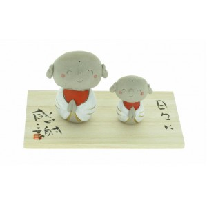 Céramique, duo de moines Bouddhistes