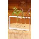"Vase ""triple-soliflore"", tubes en verre, cadre en alu."