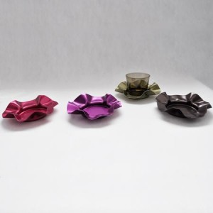 "Set de 4 sous-verres desig en aluminium ""ondulé"""