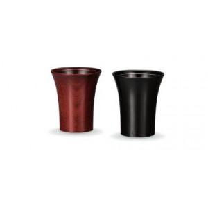 Paire de timbales assorties en bois laqué - Rouge et Noir