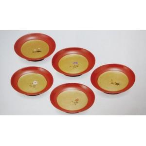 Set de 5 assiettes à desserts laquées - Motifs Fleurs