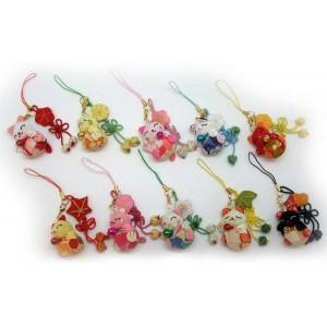 Strap Manekineko en tissu japonais